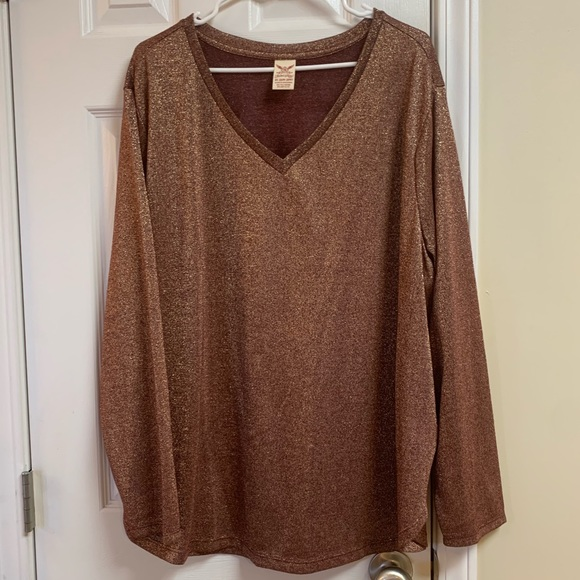 Faded Glory Tops - Shimmering Long Sleeve Top Brown with Gold